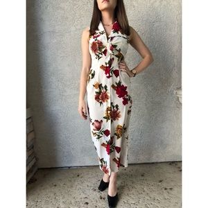 90's VINTAGE | Floral sleeveless shirtwaist dress